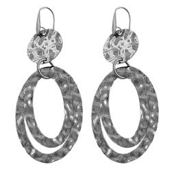Fremada Stainless Steel Hammered Oval Dangle Earrings