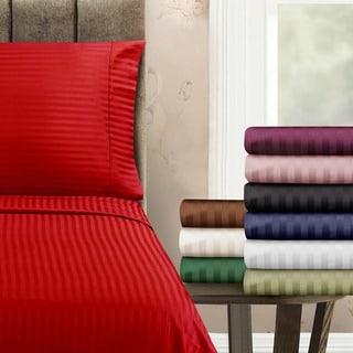 Superior 300 Thread Count Queen Waterbed Stripe Cotton Sateen Sheet Set
