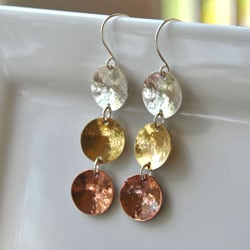AEB Design Red Brass, Copper and Sterling Silver Tri Cup Earrings