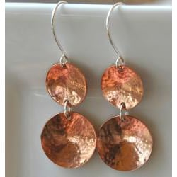 AEB Design Copper and Sterling Silver Double-cup Earrings - Thumbnail 1