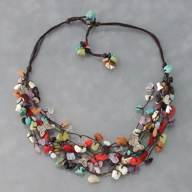 Cotton/ Pewter Butterfly Multi-gemstone Cluster Necklace (Thailand)