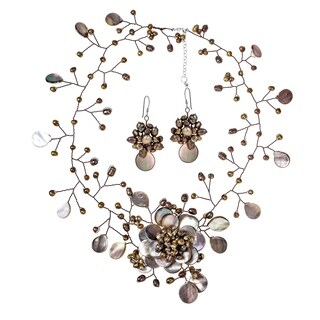 Handmade Bronze Pearl Floral Convertible Necklace Pin Earrings Set (Thailand)