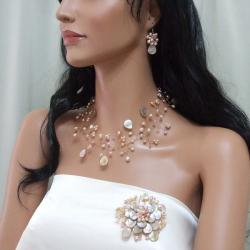 Pink Pearl and Mother of Pearl Floral Jewelry Set (3-5 mm) (Thailand)