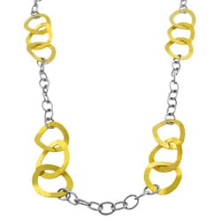 Fremada 14k Yellow Gold over Stainless Steel Wavy Link Necklace