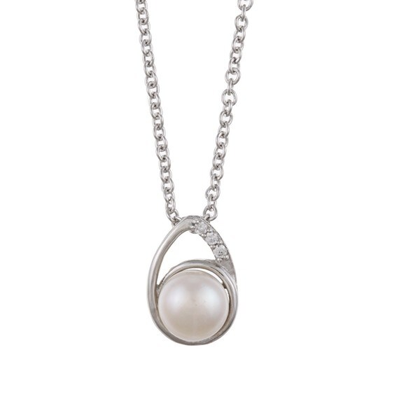 Kabella Pear-Shaped Sterling-Silver Freshwater Pearl and Cubic Zirconia Necklace (7-8mm)