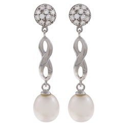Kabella Sterling Silver White Pearl and Cubic Zirconia Eternal Earrings (8-9mm)