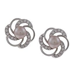 Kabella Silver Purple Pearl and Cubic Zirconia Flower Earrings (5-6 mm)