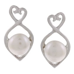 Kabella Sterling Silver White Freshwater Pearl Heart Earrings (6-7 mm)