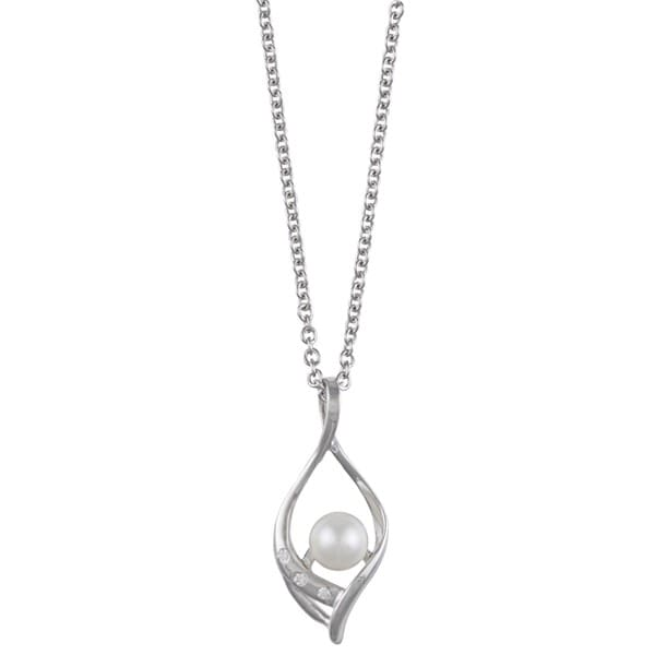 Kabella Sterling Silver Freshwater Pearl and Cubic Zirconia Necklace (5-6mm)