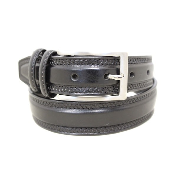 Entourage Double Keeper Black Leather Belt