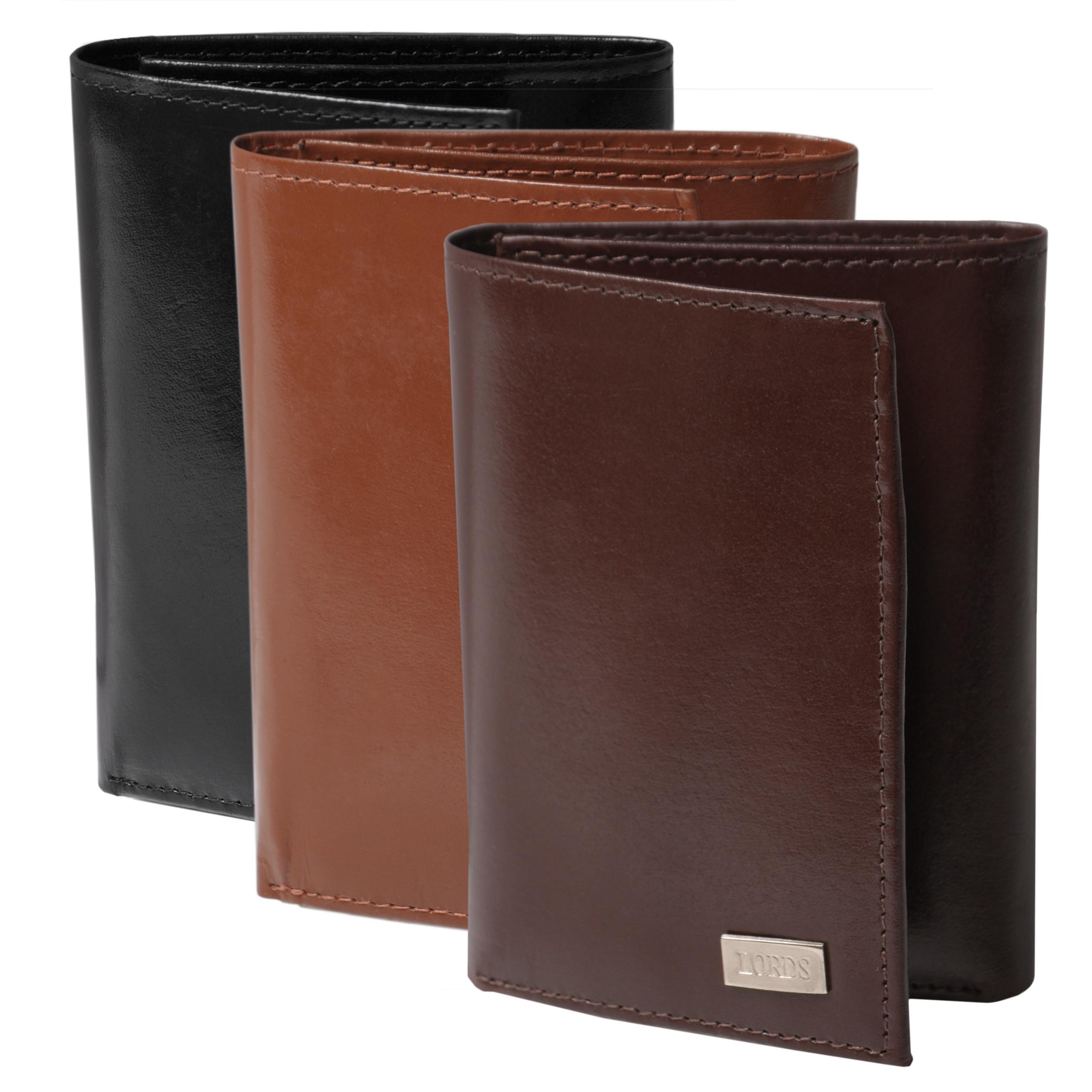 Boston Traveler Men's Solid-Color Genuine-Leather Trifold Wallet