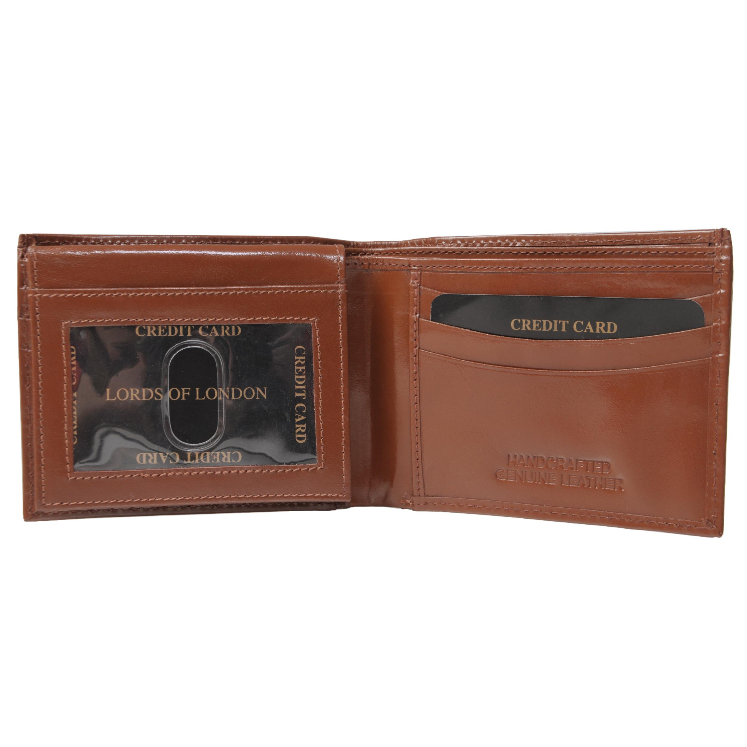 Boston Traveler Men's Solid-Colored Genuine Leather Bifold Wallet - Thumbnail 2