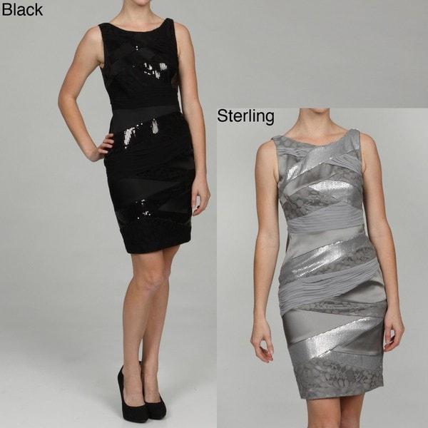 a241c069e3ffb Shop Jax Women's Sequin Shutter-pleated Evening Dress - Free ...
