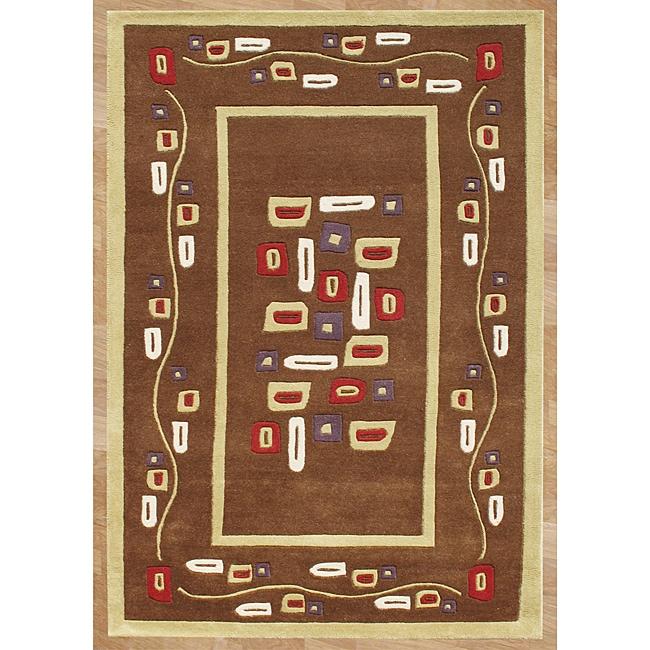 Alliyah Handmade New Zeeland Blend Hand-tufted Brown Square Rug (5' x 8')