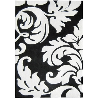 Alliyah Handmade New Zeeland Blend Damask Rug (4' x 6')