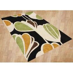 Alliyah Handmade New Zeeland Blend Black Floral Wool Rug (8' x 10')