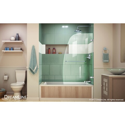 DreamLine Aqua Uno 34 in. W x 58 in. H Frameless Hinged Tub Door - 34.31 in. w x 58 in. h