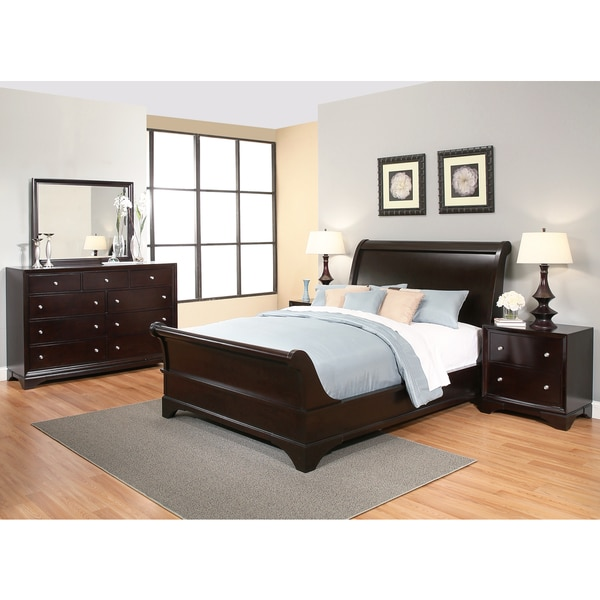 Abbyson Kingston 5 Piece Espresso Sleigh Queen Size Bedroom Set