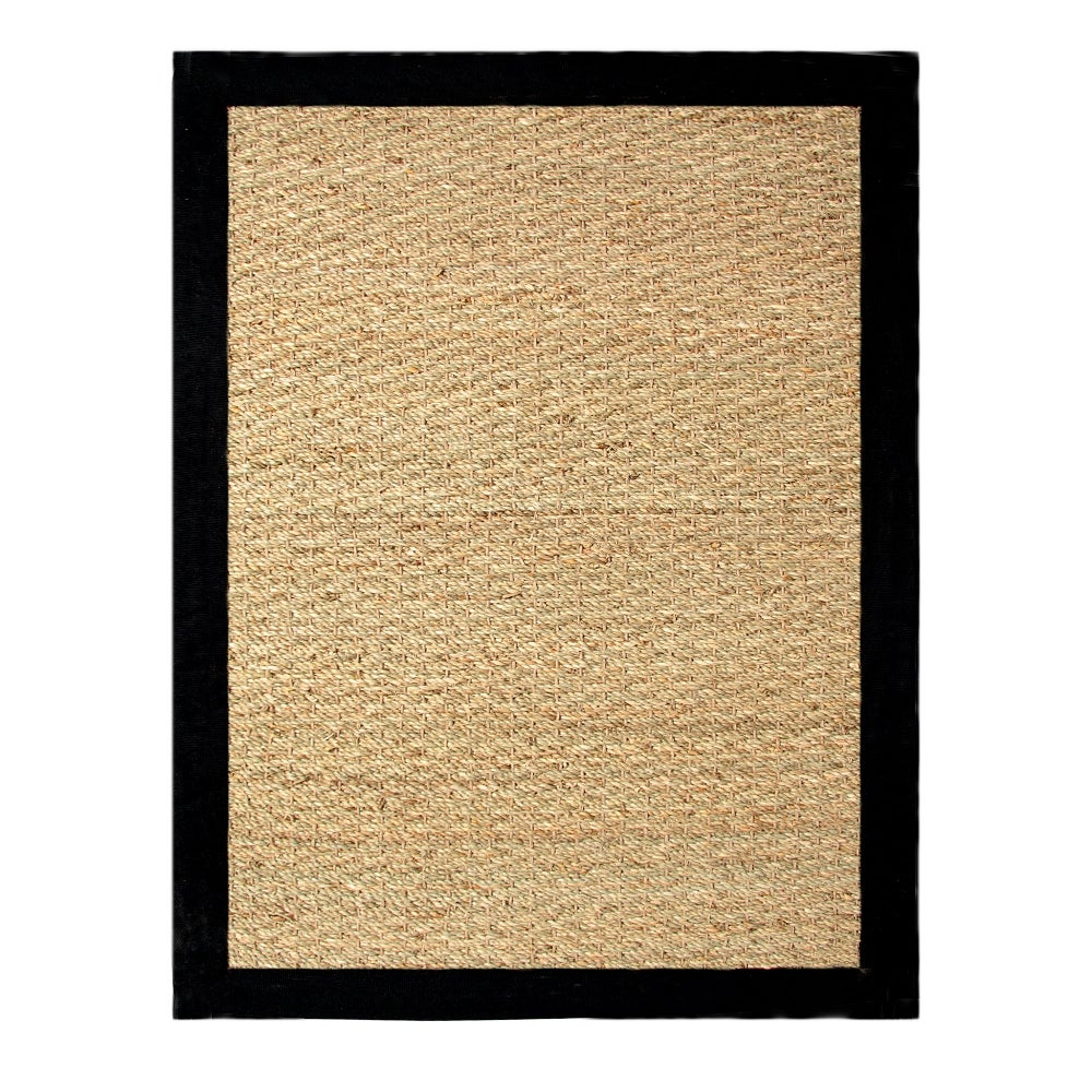 Hand Woven Coastal Seagrass Black Area Rug 5 X 7