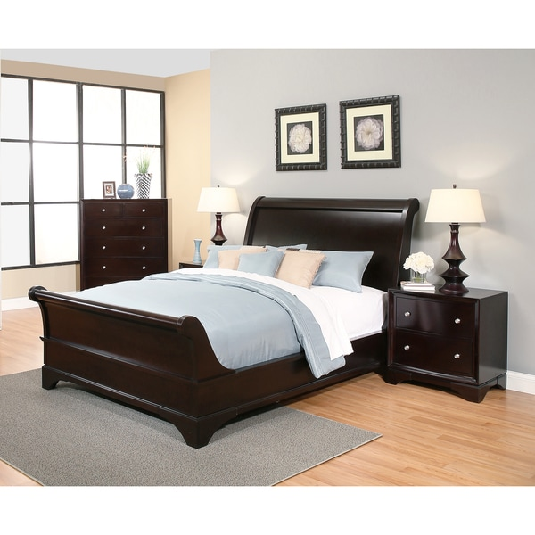Elegant Abbyson Kingston 4 Piece Espresso Sleigh King Size Bedroom Set