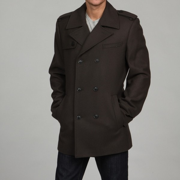 Black Rivet Men's Olive Wool-blend Peacoat FINAL SALE - Free ...