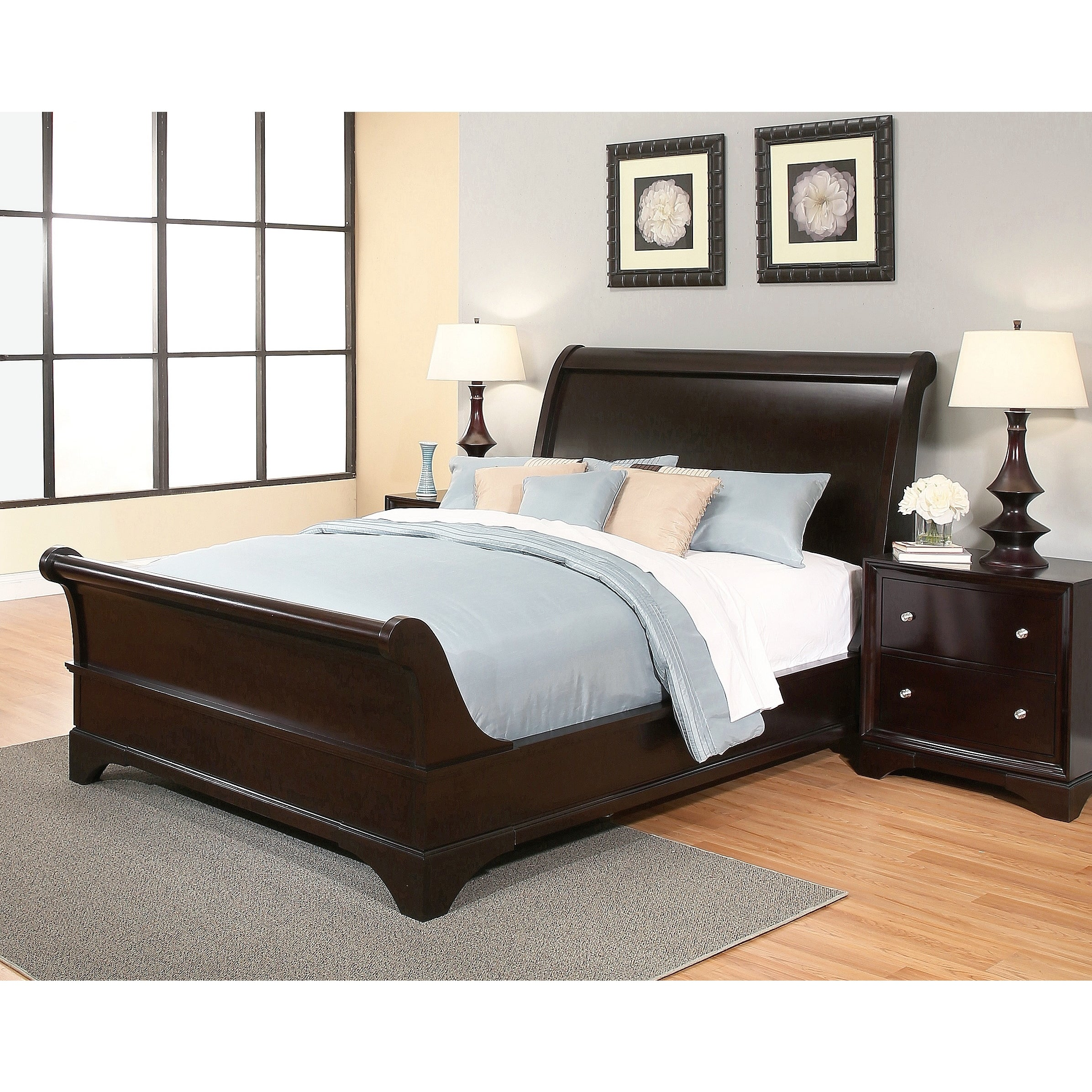 Picture of: Abbyson Kingston Espresso Sleigh California King Size Bed Overstock 6091972