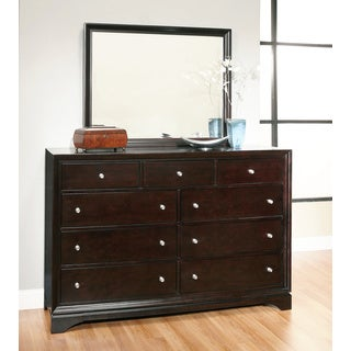 Abbyson Kingston Espresso 9-drawer Dresser and Mirror Set