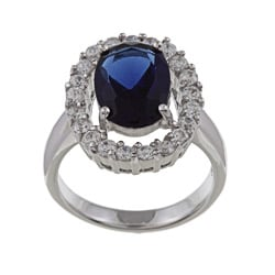 Silvertone Blue and White Cubic Zirconia Ring