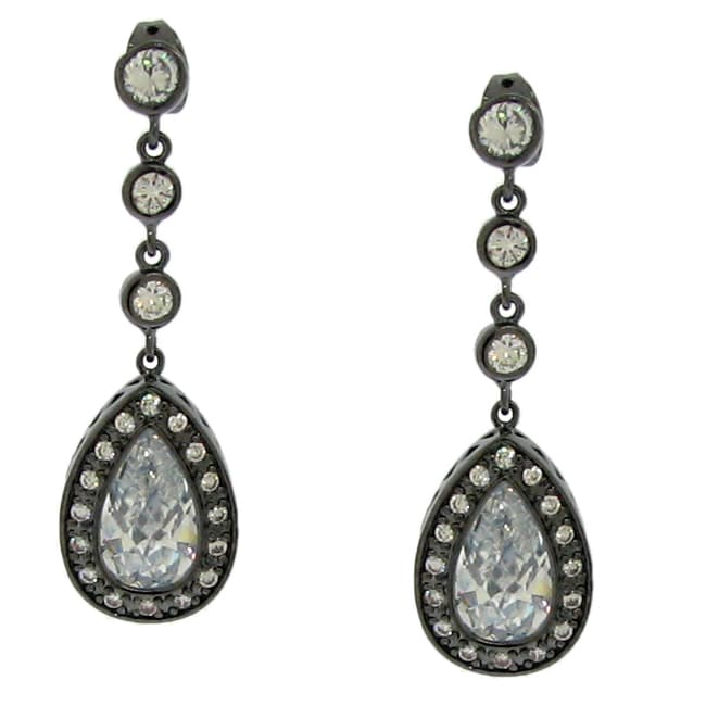 Sterling Silver White Cubic Zirconia Teardrop Earrings