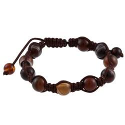 La Preciosa Created Brown Agate Bead Macrame Bracelet
