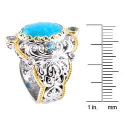 Michael Valitutti Two-tone Turquoise, Blue Zircon and White Sapphire Ring