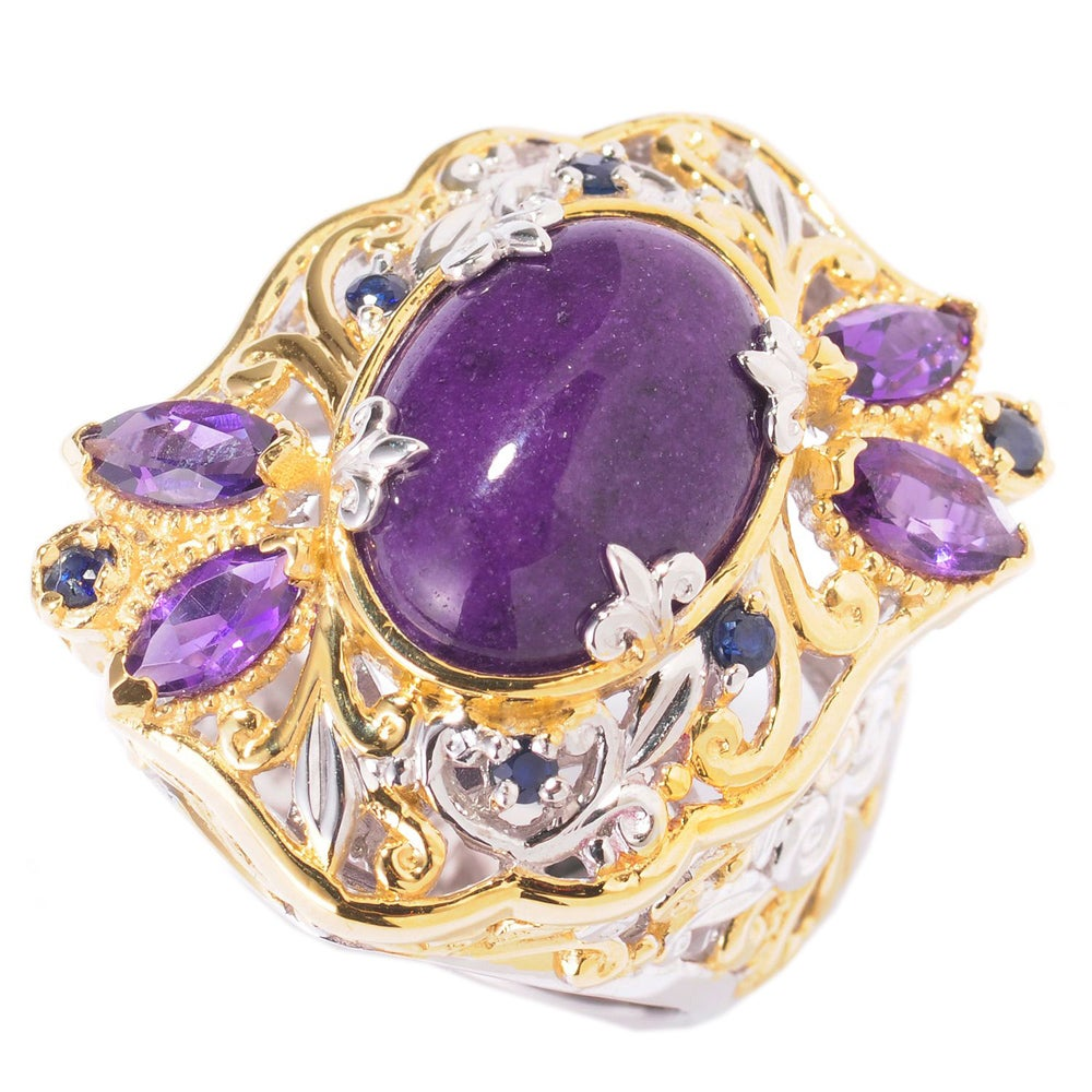 Michael Valitutti Two-tone Purple Jade, Amethyst, and Sapphire Cluster Ring