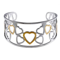 La Preciosa Stainless Steel Two-tone Heart Cuff Bracelet