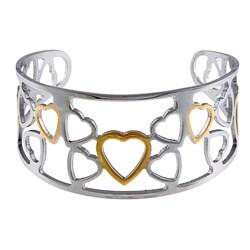 La Preciosa Stainless Steel Two-Tone Heart Cuff Bracelet