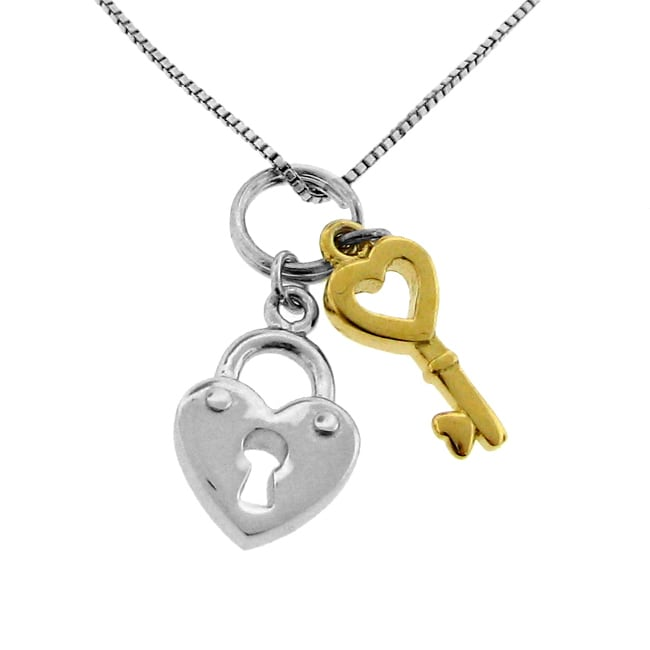 14k Gold Overlay Two-tone Heart and Key Necklace