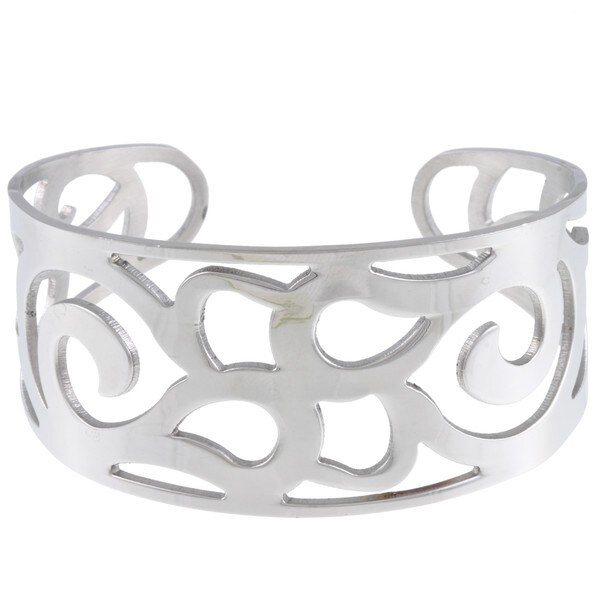 La Preciosa Stainless Steel Swirls Cuff Bracelet