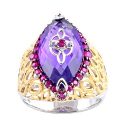 Michael Valitutti Two-tone Amethyst and Ruby Ring