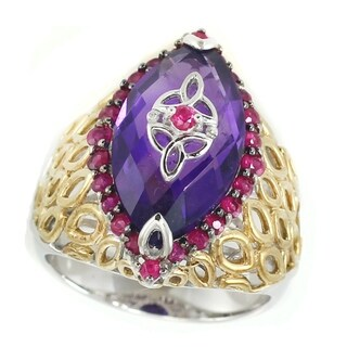 Michael Valitutti Sterling Silver Marquise Amethyst and Ruby Ring