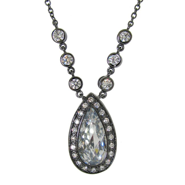 Sterling Silver Clear Cubic Zirconia Teardrop Necklace