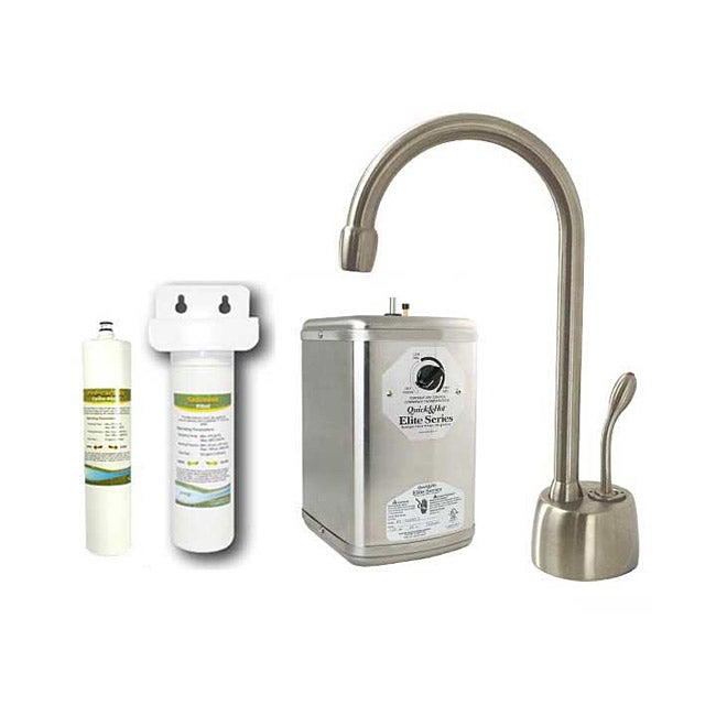 Westbrass Satin Nickel Instant Hot Water Dispenser Kitchen Faucet With Under Counter Filter Kit