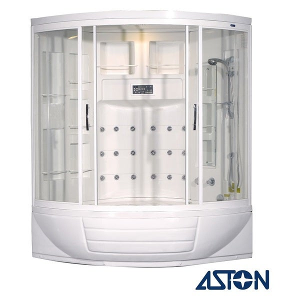 Aston White 87-inch 18-jet Steam Shower with Whirlpool Tub