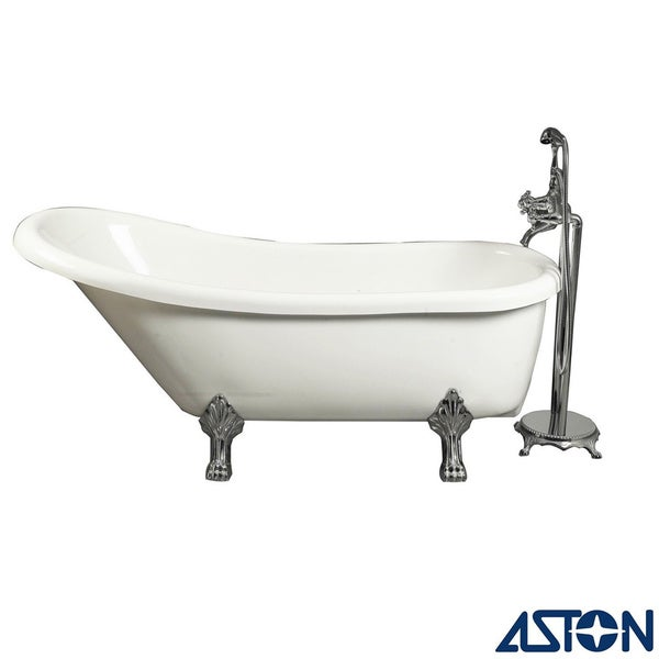 Aston 67 in x 28 in claw foot freestanding tub in white for Claw foot soaker tub