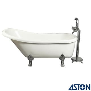 Aston 67-in x 28-in Claw-Foot Freestanding Tub in White