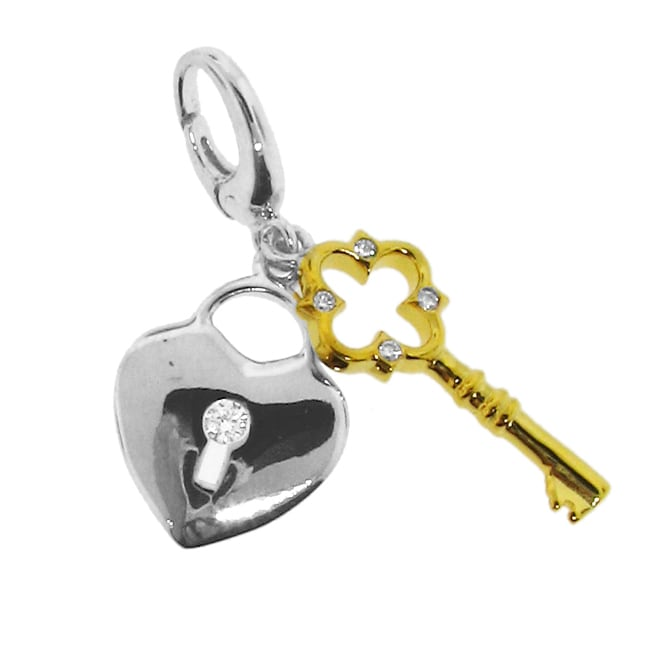 Sterling Silver Two-tone Lock and Key Charm