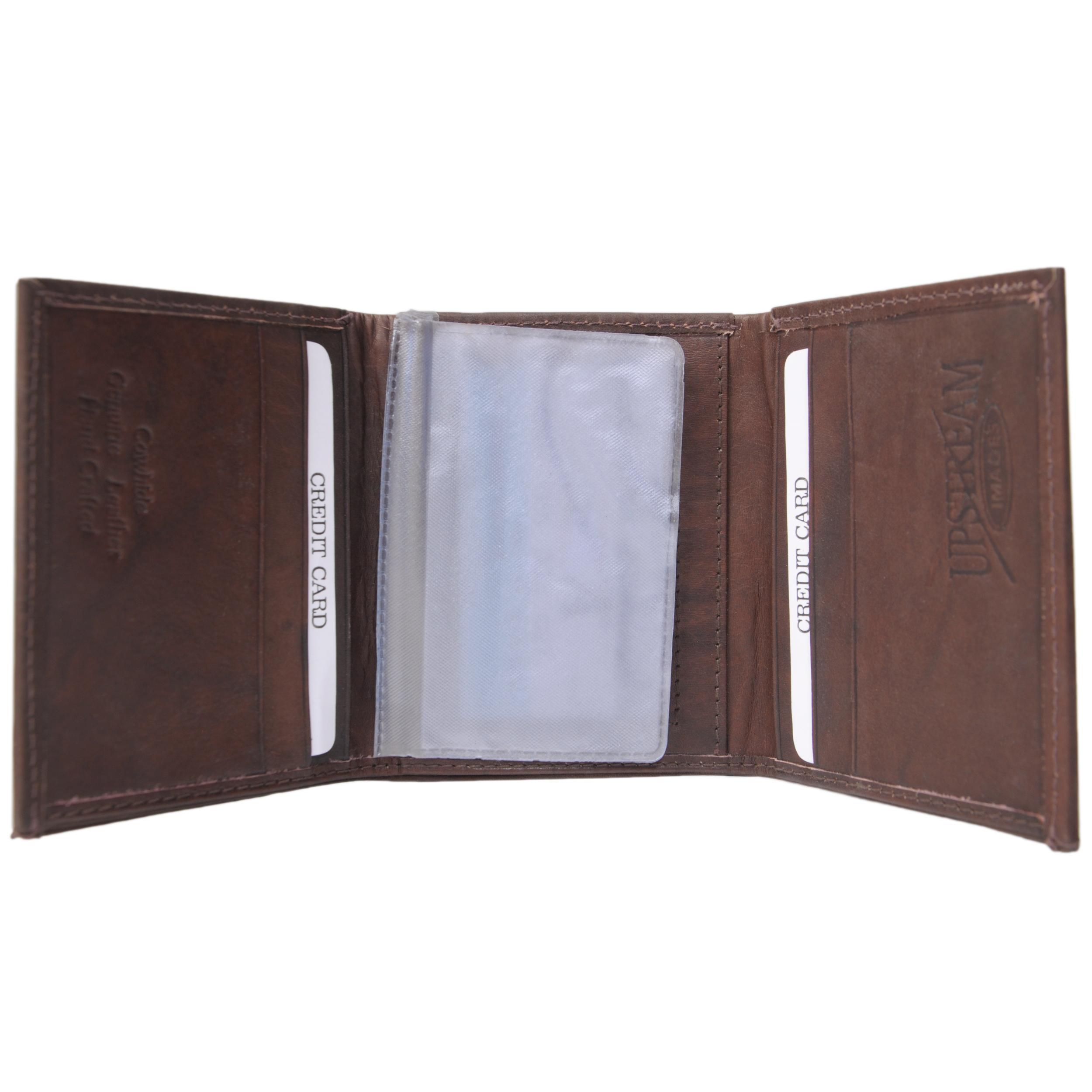 Boston Traveler Men's Genuine Leather Fly Embossed Tri-fold Wallet - Thumbnail 1