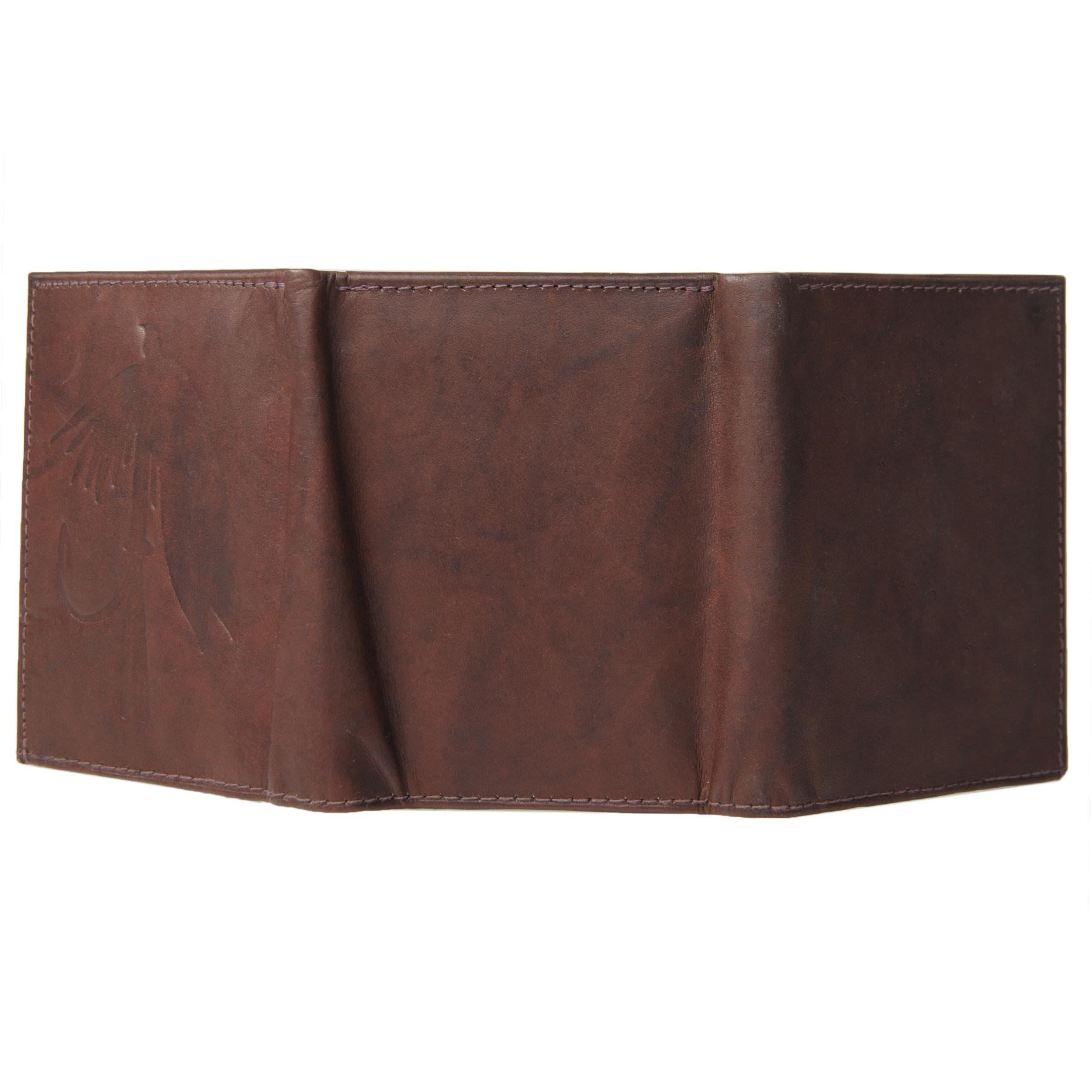 Boston Traveler Men's Genuine Leather Fly Embossed Tri-fold Wallet - Thumbnail 2