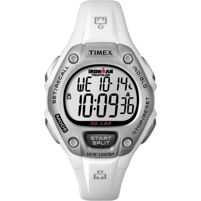 Timex Women's T5K515 Ironman Traditional 30-Lap White/Silver Watch
