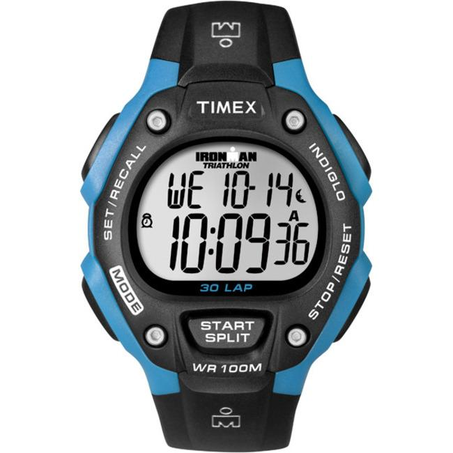 Timex Unisex T5K521 Ironman Traditional 30-Lap Black/Bright Blue Watch - Thumbnail 1