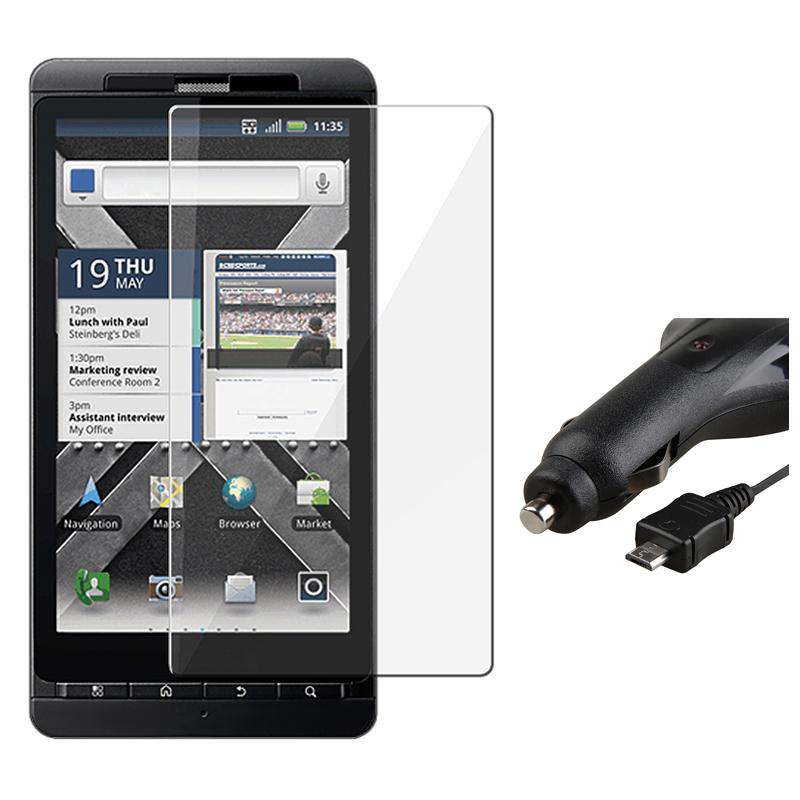 INSTEN Clear Screen Protector/ Car Charger for Motorola Droid X2