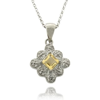 Dolce Giavonna Silver Citrine and Diamond Accent Square Necklace